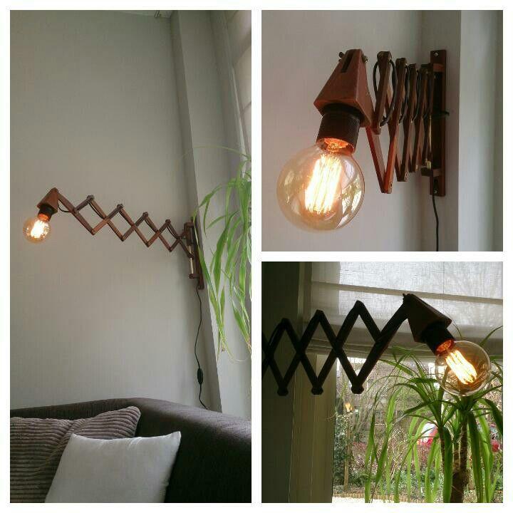 Nieuw - oud of oud - nieuw? Mijn DIY lamp is klaar! Vintage schaarlamp, helemaal blij mee!
