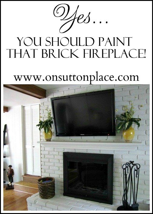 See the shocking before and after of this painted brick fireplace makeover!