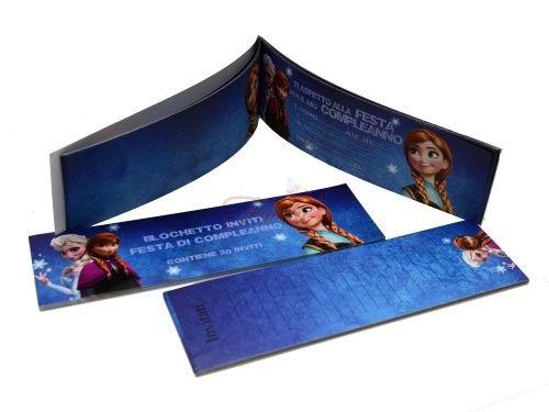 Frozen inviti assegno per party Ti aspetto alla festa per il mio compleanno. Blocchetto da 20 inviti