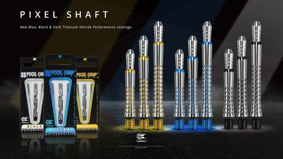 This latest technology in Target Shaft Technology features a Titanium version of the Grip Style shaft utilising Targets unique Pixel grip to offer a new grip zone for players. Adding Pixel grip to the shafts gives added reassurance and new options to holding your darts.  The Pixel Shafts are coated in a coloured Titanium Nitride giving both protection and style!  The Pixel Titanium Shaft grips the flight tighter as the top in screwed in; the design also allows the aluminium tops to be…