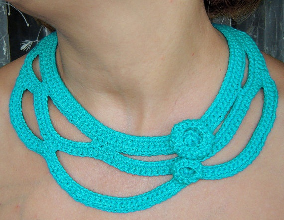 Turquoise crochet necklace  by agatsknitting on Etsy