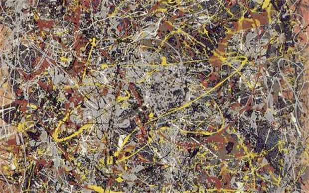 "A section of  ""No5, 1948"" an Abstract Expressionist work by Jackson Pollock. The painting was sold for $140 million in 2006."