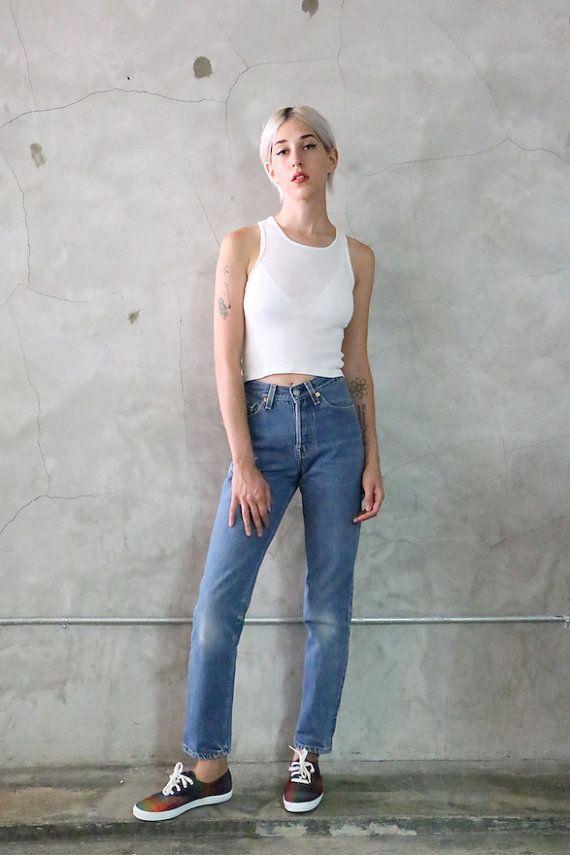 levis 501 jeans high waisted faded indigo denim by youngandukraine