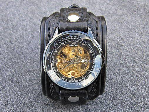 leon / Štýlové pánske hodinky, čierne lesklé