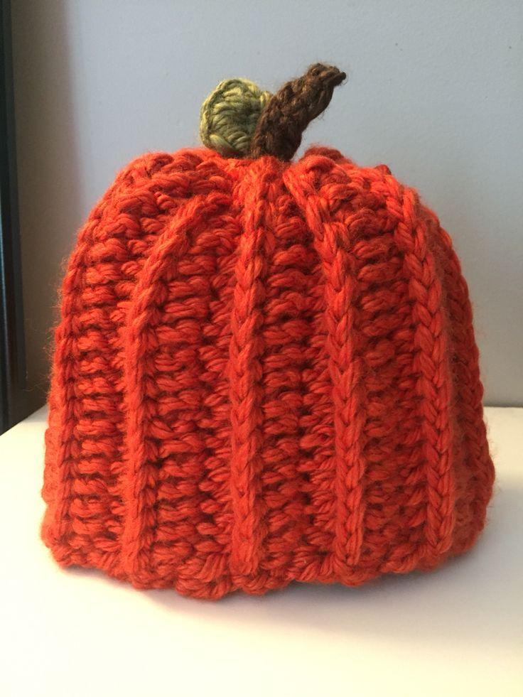 Toddler crochet pumpkin hat. Made with Lion Brand hometown USA yarn