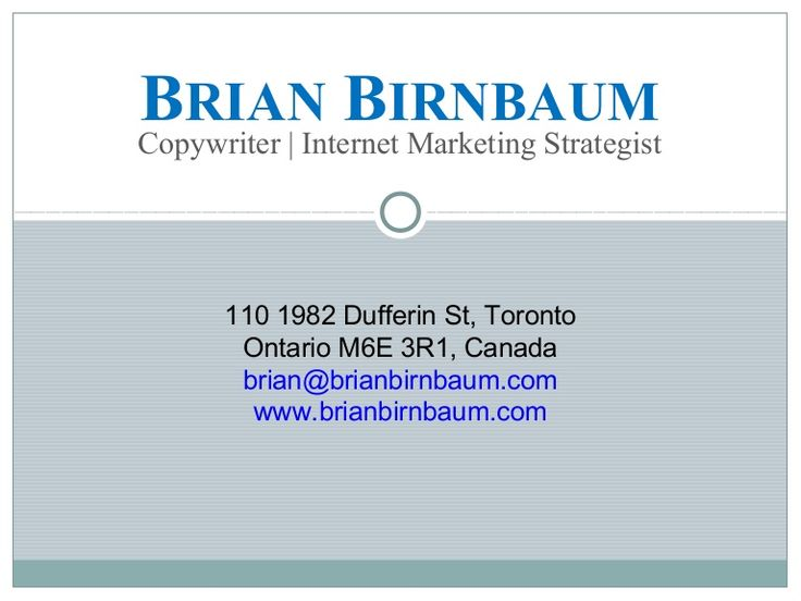 If you want content that will compel people to get in touch and buy your product or service, hiring me is a great choice. http://www.slideshare.net/BrianBirnbaum/brian-birn-baum-print-copywriting
