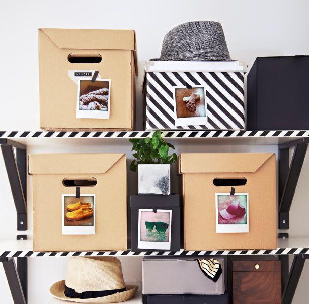 EKBY ÖSTEN planken en PAPPIS dozen voorzien van foto's om te laten zien wat erin zit