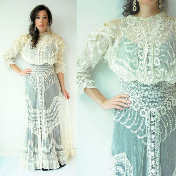 Early 1900s Vintage Edwardian Cream Lace Victorian Wedding Dress Embroidered Tatted