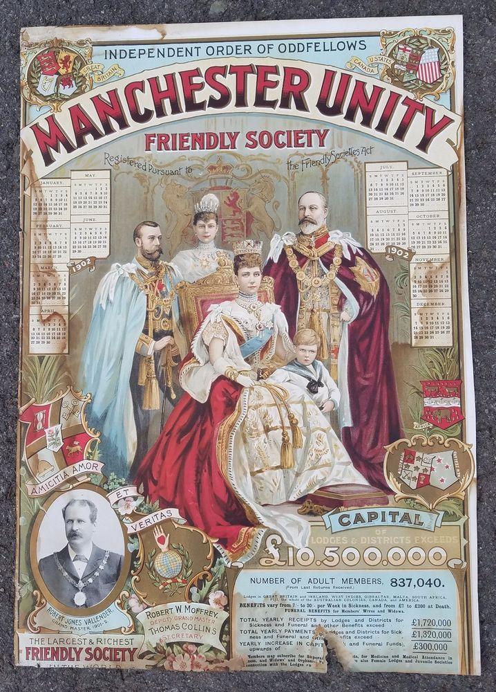 1902 IOOF MANCHESTER UNITY FRIENDLY SOCIETY BROADSIDE CALENDAR-ORIGINAL UK-COLOR