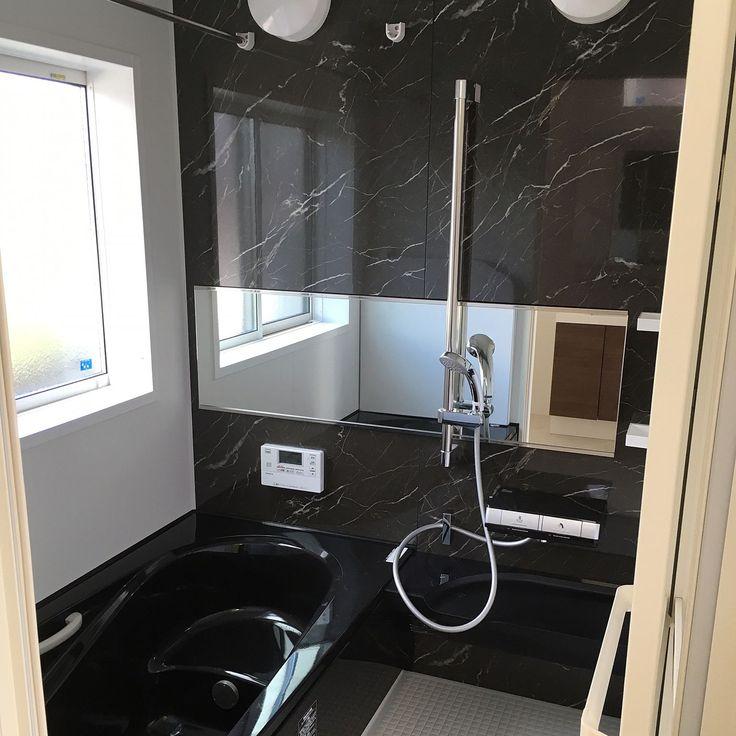 リクシルのお風呂/黒い浴槽/エコベンチ浴槽/浴槽/パールブラック/横長鏡…などのインテリア実例 - 2016-09-19 00:54:39   RoomClip(ルームクリップ)