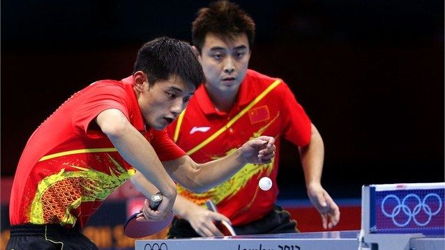 China sweep up Table Tennis golds.  China completed a second successive clean sweep of Olympic Table Tennis gold medals as Ma Long, Zhang Jike and Wang Hao eased past Republic of Korea in the men's Team final.  Zhang Jike and Wang Hao compete Zhang Jike (L) and Wang Hao of China compete against the Republic of Korea during the men's Team Table Tennis gold medal match on Day 12.  (8-8-2012)