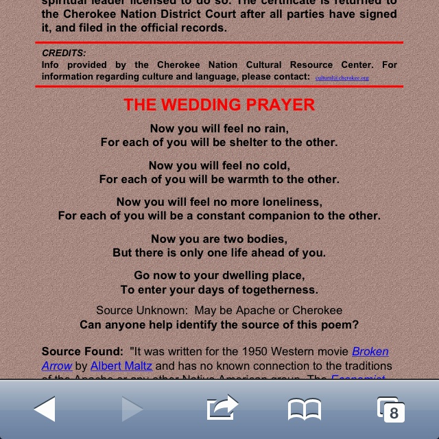 The Wedding Prayer Used At Cherokee Weddings 3 I Fell In Love With These