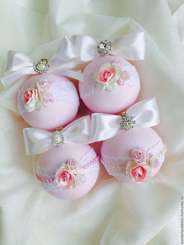 Купить Новогодние шары - бледно-розовый, нежно-розовый, новогодние игрушки, новогодние украшения