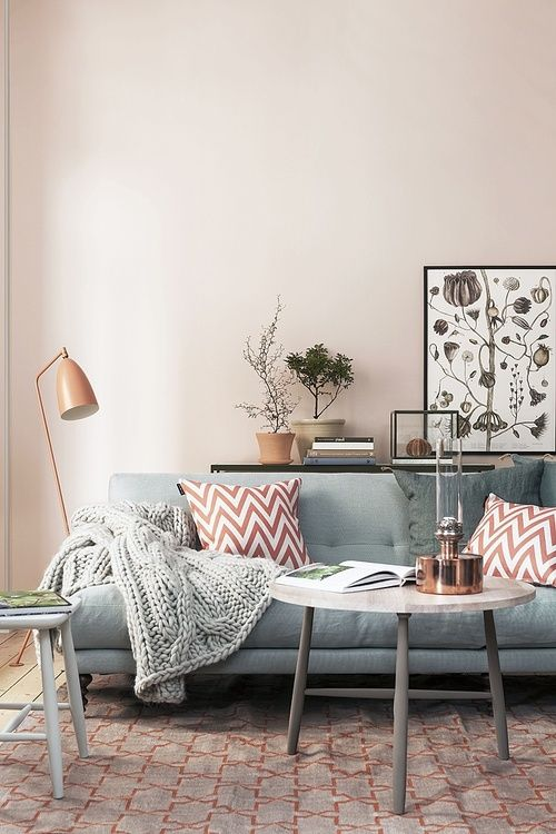 Love the mixture of baby blue and copper. So cozy.