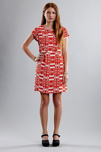 Handsom Capped Sleeve Deco Dress Coral | someplace