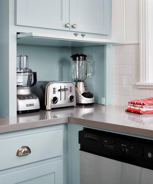 kitchen with painted blue walls and appliance garage, pantone placid blue color of the month february 2014