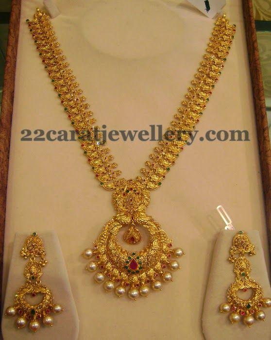 Mango Necklace with Chandbali Locket | Jewellery Designs