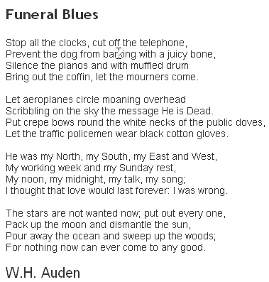 how does auden portray his grief and loss in funeral blues? essay Funeral blues this poem, which unfathomable sense of loss, for his lover was down dead as he drank / and his horses died of grief auden's imagery is.