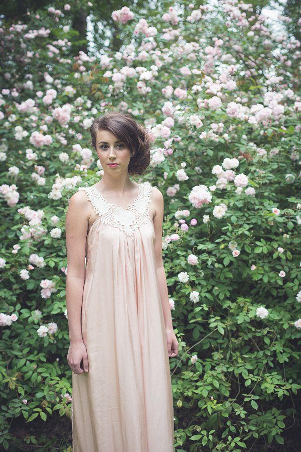 ViCTOR Bridesmaid - Style JASMINE Blush Silk with boho neck embellishment