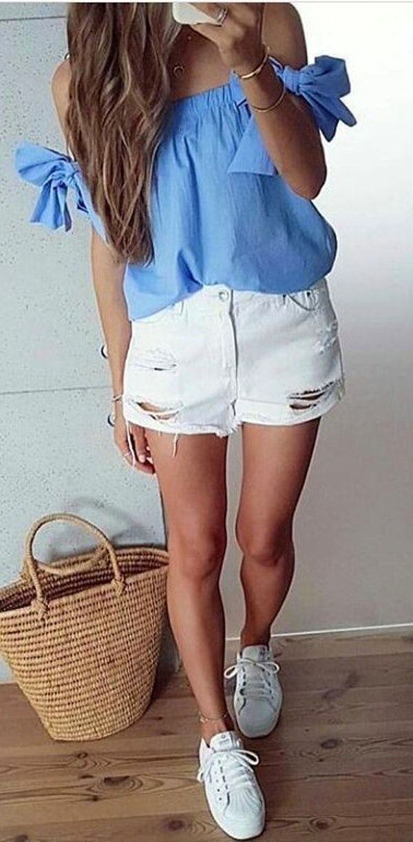 638eb45e5a3f  summer  outfits Blue Cold Shoulder Top + White Ripped Denim Short