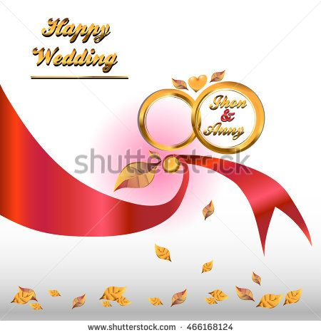 Wedding invitation modern design with golden ring, ribbon and golden leaf