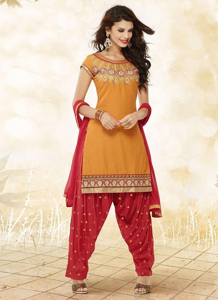 Elegant Look Mustard Cotton #Patiala Suit