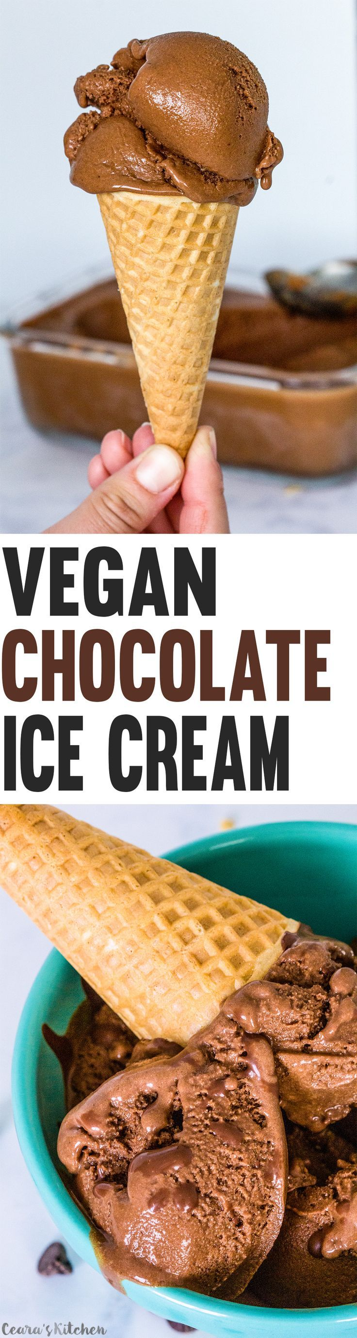 Vegan Chocolate Ice Cream made with only a handful of ingredients. Silky. Need ice cream maker