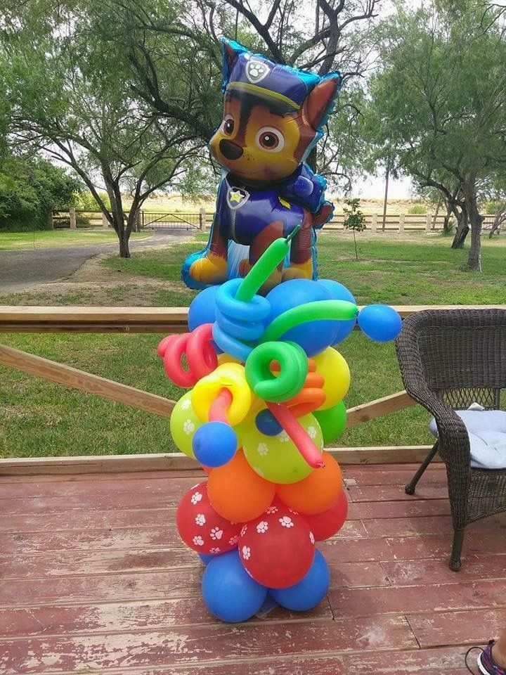Paw patrol balloon column birthday party