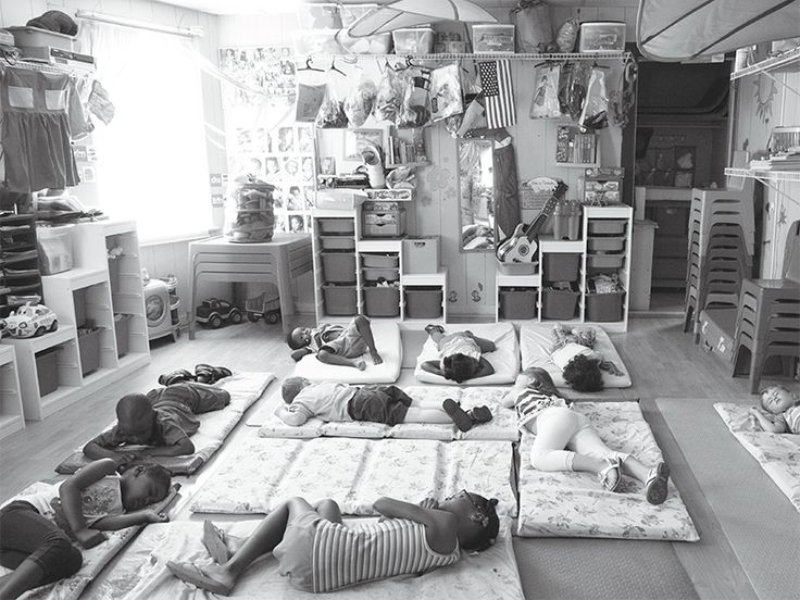 24-HOUR CHILDREN: In New Rochelle, New York, boys and girls at Dee's Tots Childcare—open around the clock—nap on mattresses atop yoga mats. Some nights, half a dozen kids sleep over at Dee's. (Photo: Alice Proujansky)