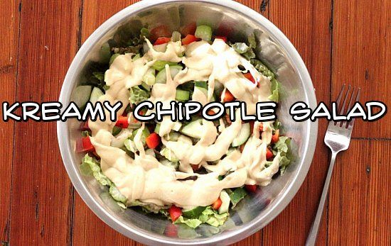 Five Easy, Delectable Salads + 4 Lush Raw Vegan Salad Dressings - Kreamy Chipotle Salad