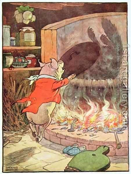 Frank Adams:'The wolf tumbled into the water with a splash', illustration from 'The Three Little Pigs'