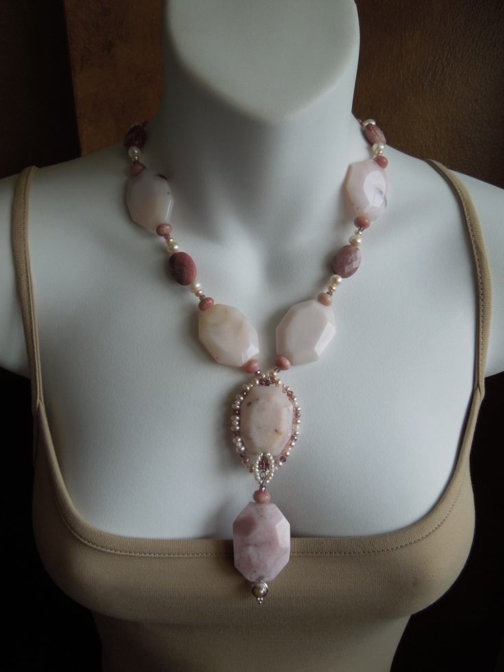 Pink Peruvian Opals,tiny pink fresh water pearls and sterling silver  Jewelry By Stella Margaritis on FaceBook