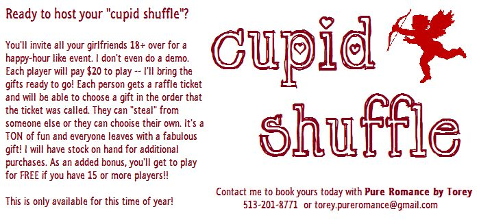 Play the Cupid Shuffle at your next party with Pure Romance by Torey! 513-201-8771