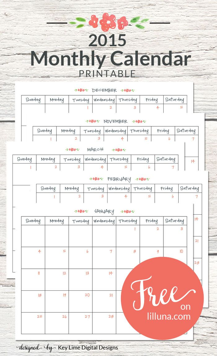FREE 2015 Monthly Calendar - Print and use to keep on track this year! { lilluna.com }