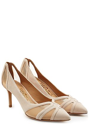 A low heel and a sharp pointed toe make these nude pumps a slick and versatile choice from ultra-plush luxury brand, Salvatore Ferragamo. Styled with mesh inserts and a supple leather insole, wear them from season to season - they'll never date #Stylebop