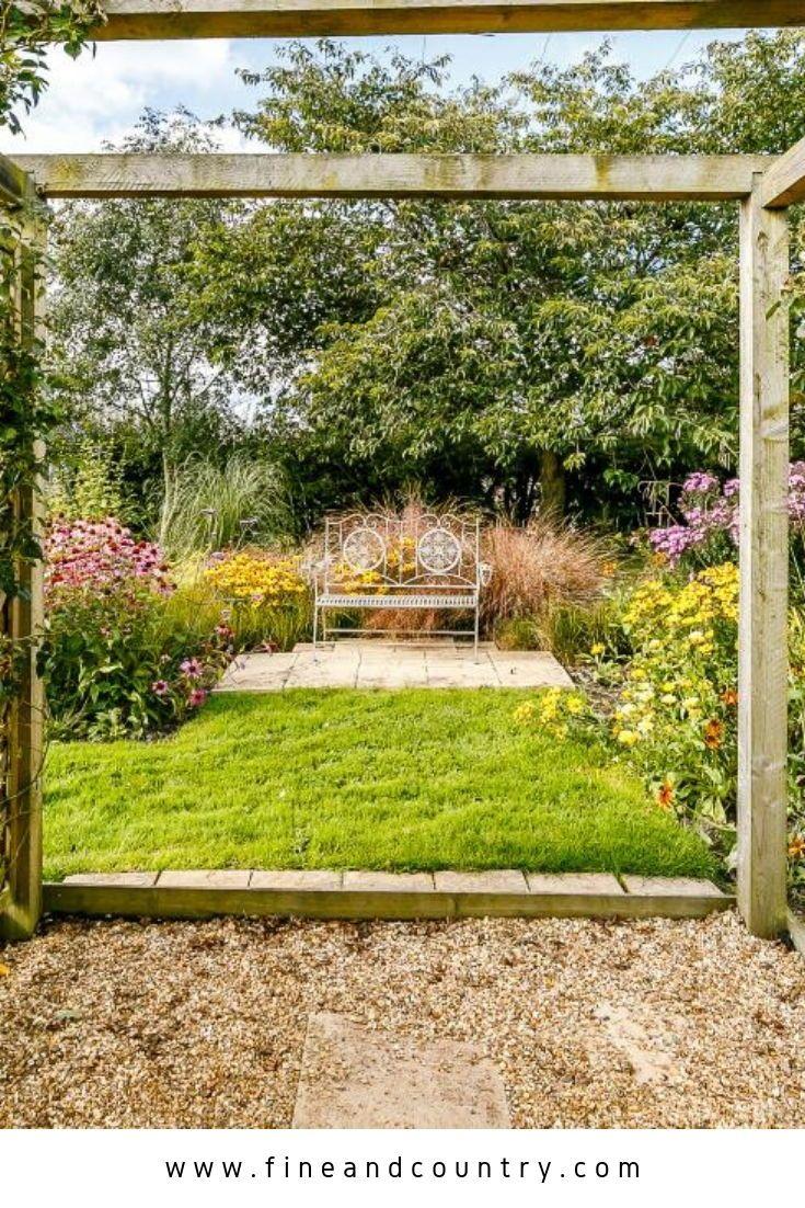 Urban garden decor in Derbyshire, UK. Beautiful home garden with