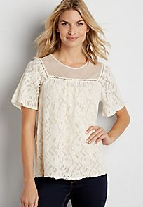 lace tee with embroidered mesh yoke