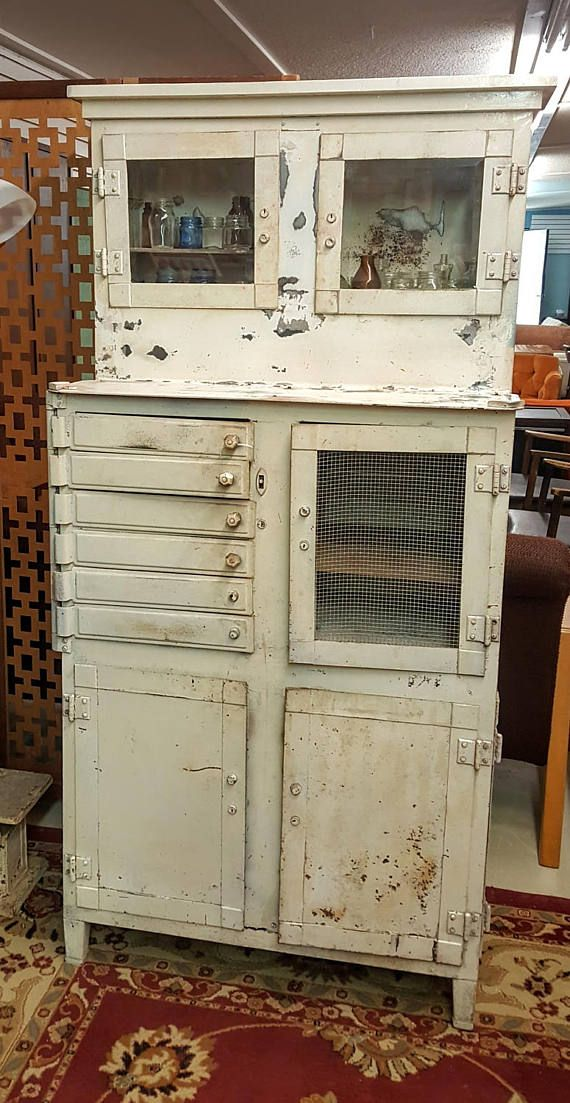 Antique White Metal Dental  Doctor Cabinet Shabby Chic