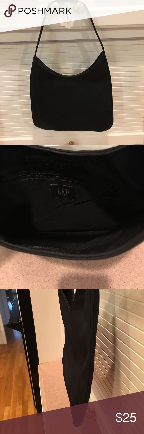 """GAP Purse Used, small purse, can be carried on shoulder. Velcro closing , Inside small zip pocket. 8 3/4"""" from center to bottom;          10 3/4 """" from strap to bottom. Opens to 5 3/4"""";  16"""" shoulder or hand strap.                       Good condition as not used very much.  No damage to inside at all. GAP Bags Mini Bags"""