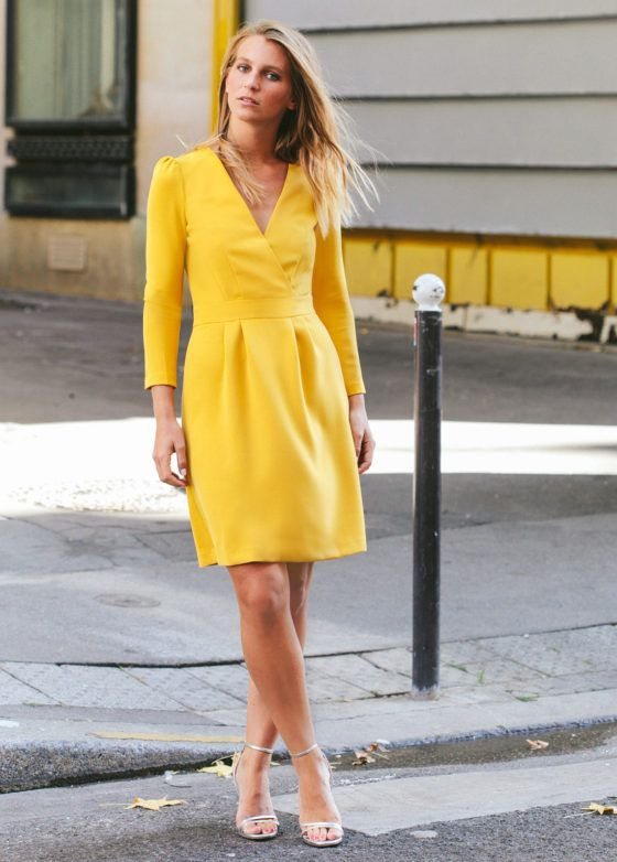 3c6395668ab Robe Greta jaune moutarde en 2019