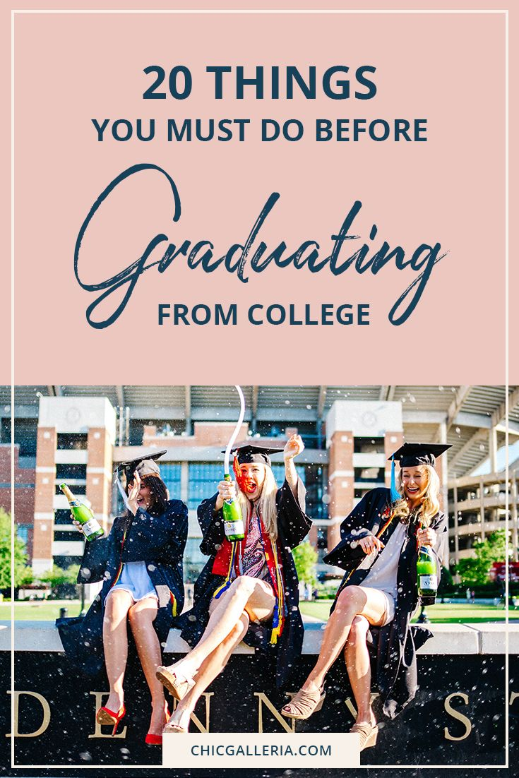 College graduation approaching faster than you expected? Make sure you have checked these 20 things off your bucket list before you toss your cap and pop the bubbly.   College Bucket List   Senior Year   Before Graduating College Tips   What to Do Before Graduation   Senior Year Bucket List