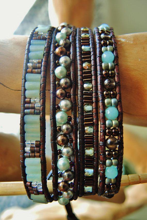 color ideas CREME DE MENTHE 4 to 5 Wrap Leather Bracelet,Aqua Amazonite & Brown Smoky Quartz semiprecious gemstones,Mint Chocolate Shell Pearls,Delicas