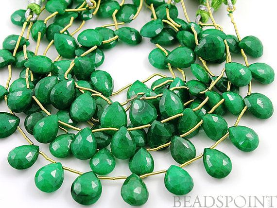 Dyed Natural Emerald Faceted Flat Pear Briolettes by Beadspoint, $34.95