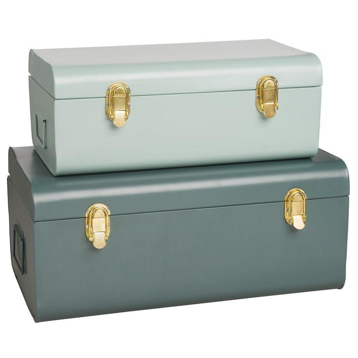 2 bauli verdi in metallo