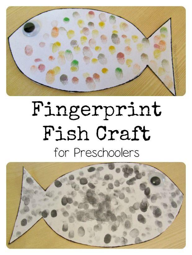 Fingerprint Fish Craft for Preschoolers   -Repinned by Totetude.com