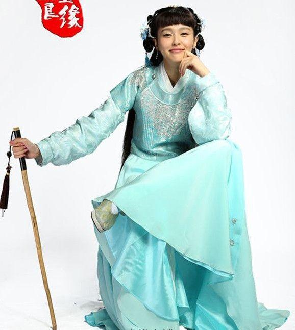 Голубой костюм с вышивкой китайское телевидение играть цзинь юй лян юань новый дизайн синий вышивка платье Hanfu сценический костюм