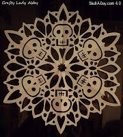 Skull Snowflake?  I think so!  Crafty Lady Abby: Skull-A-Day 4.0 - Tutorial - #27: Skullflake (Snowflake Skull)