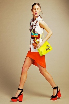 Sport Luxe: Vest, skirt and belt by Josh Goot; Pucci neon bag from Miss Louise; Celine shoes from Christine. Photo: Craig Sillitoe