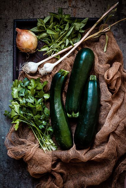 zucchini & herbs by carey nershi on Flickr.