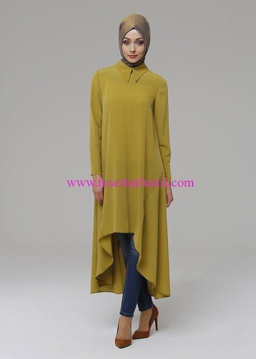 Armağan Giyim safran asimetrik tunik